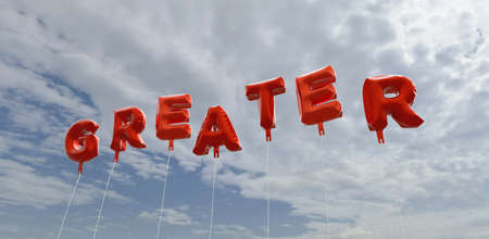 greater: GREATER - red foil balloons on blue sky - 3D rendered royalty free stock picture. This image can be used for an online website banner ad or a print postcard.