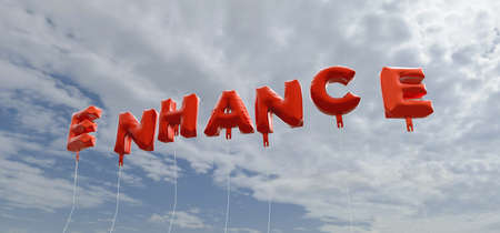 ENHANCE - red foil balloons on blue sky - 3D rendered royalty free stock picture. This image can be used for an online website banner ad or a print postcard.