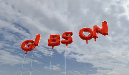GIBSON - red foil balloons on blue sky - 3D rendered royalty free stock picture. This image can be used for an online website banner ad or a print postcard.