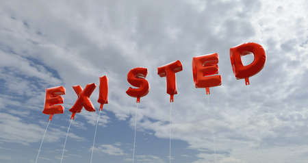 existed: EXISTED - red foil balloons on blue sky - 3D rendered royalty free stock picture. This image can be used for an online website banner ad or a print postcard.