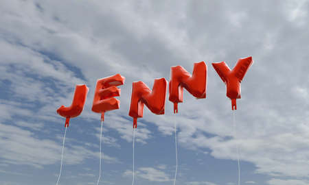 jenny: JENNY - red foil balloons on blue sky - 3D rendered royalty free stock picture. This image can be used for an online website banner ad or a print postcard. Stock Photo