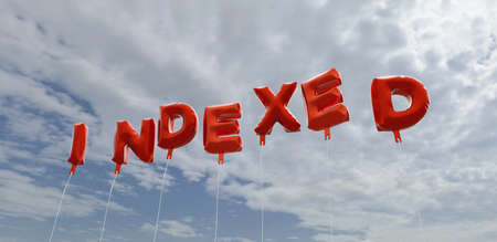 indexed: INDEXED - red foil balloons on blue sky - 3D rendered royalty free stock picture. This image can be used for an online website banner ad or a print postcard.