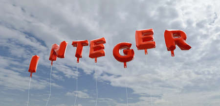 INTEGER - red foil balloons on blue sky - 3D rendered royalty free stock picture. This image can be used for an online website banner ad or a print postcard.