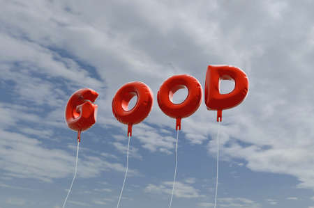 GOOD - red foil balloons on blue sky - 3D rendered royalty free stock picture. This image can be used for an online website banner ad or a print postcard.