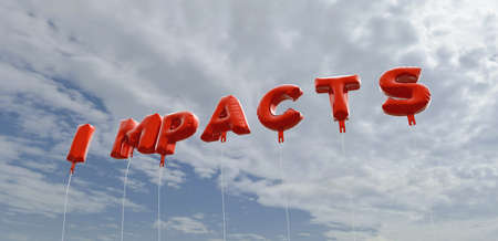 impacts: IMPACTS - red foil balloons on blue sky - 3D rendered royalty free stock picture. This image can be used for an online website banner ad or a print postcard. Stock Photo