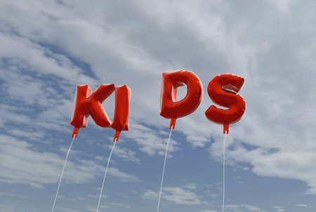 KIDS - red foil balloons on blue sky - 3D rendered royalty free stock picture. This image can be used for an online website banner ad or a print postcard.