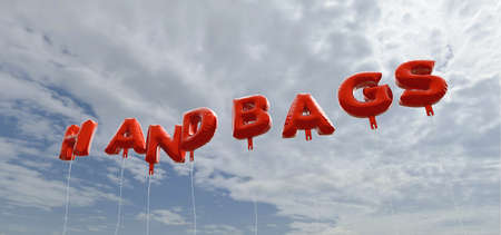HANDBAGS - red foil balloons on blue sky - 3D rendered royalty free stock picture. This image can be used for an online website banner ad or a print postcard.