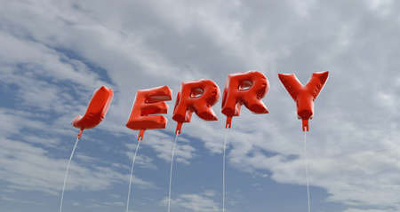 jerry: JERRY - red foil balloons on blue sky - 3D rendered royalty free stock picture. This image can be used for an online website banner ad or a print postcard. Stock Photo