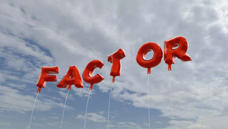 factor: FACTOR - red foil balloons on blue sky - 3D rendered royalty free stock picture. This image can be used for an online website banner ad or a print postcard.