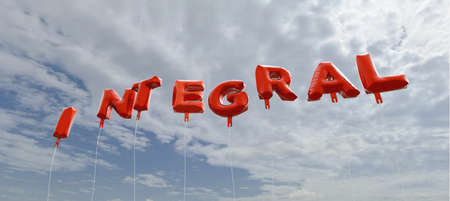integral: INTEGRAL - red foil balloons on blue sky - 3D rendered royalty free stock picture. This image can be used for an online website banner ad or a print postcard. Stock Photo