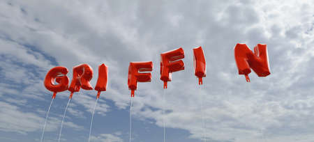 griffin: GRIFFIN - red foil balloons on blue sky - 3D rendered royalty free stock picture. This image can be used for an online website banner ad or a print postcard.