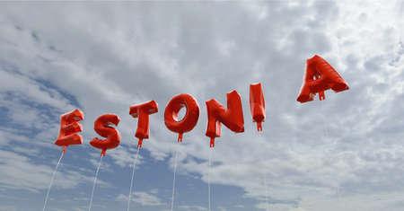 エストニア - 青い空に赤箔バルーン - 3 D レンダリングされたロイヤリティ フリー ストック画像。この画像は、オンラインの web サイトのバナー広告