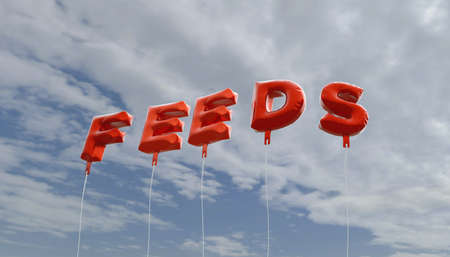 feeds: FEEDS - red foil balloons on blue sky - 3D rendered royalty free stock picture. This image can be used for an online website banner ad or a print postcard.