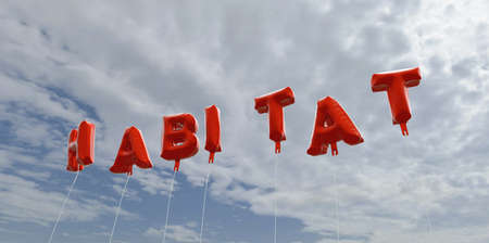 habitat: HABITAT - red foil balloons on blue sky - 3D rendered royalty free stock picture. This image can be used for an online website banner ad or a print postcard.