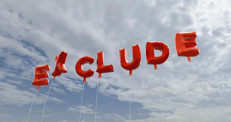 EXCLUDE - red foil balloons on blue sky - 3D rendered royalty free stock picture. This image can be used for an online website banner ad or a print postcard. Stock Photo