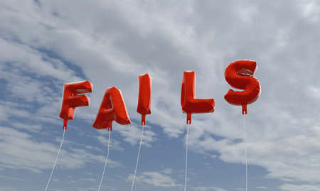 fails: FAILS - red foil balloons on blue sky - 3D rendered royalty free stock picture. This image can be used for an online website banner ad or a print postcard.