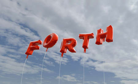 forth: FORTH - red foil balloons on blue sky - 3D rendered royalty free stock picture. This image can be used for an online website banner ad or a print postcard. Stock Photo