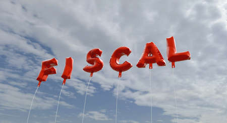 fiscal: FISCAL - red foil balloons on blue sky - 3D rendered royalty free stock picture. This image can be used for an online website banner ad or a print postcard.