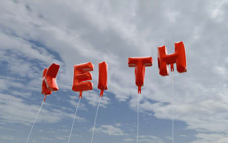 KEITH - red foil balloons on blue sky - 3D rendered royalty free stock picture. This image can be used for an online website banner ad or a print postcard. Stock Photo