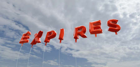 EXPIRES - red foil balloons on blue sky - 3D rendered royalty free stock picture. This image can be used for an online website banner ad or a print postcard.