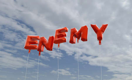 enemy: ENEMY - red foil balloons on blue sky - 3D rendered royalty free stock picture. This image can be used for an online website banner ad or a print postcard.