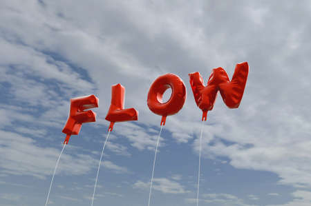 FLOW - red foil balloons on blue sky - 3D rendered royalty free stock picture. This image can be used for an online website banner ad or a print postcard.