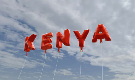 kenya: KENYA - red foil balloons on blue sky - 3D rendered royalty free stock picture. This image can be used for an online website banner ad or a print postcard.