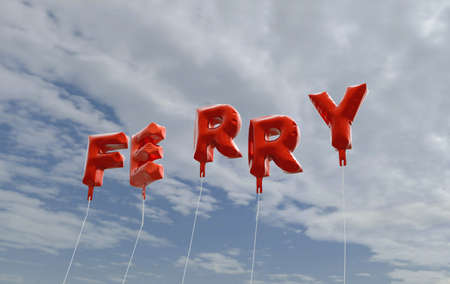 FERRY - red foil balloons on blue sky - 3D rendered royalty free stock picture. This image can be used for an online website banner ad or a print postcard. Banco de Imagens