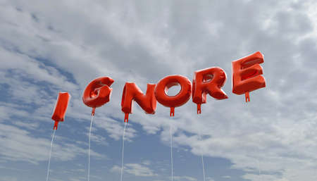 ignore: IGNORE - red foil balloons on blue sky - 3D rendered royalty free stock picture. This image can be used for an online website banner ad or a print postcard.