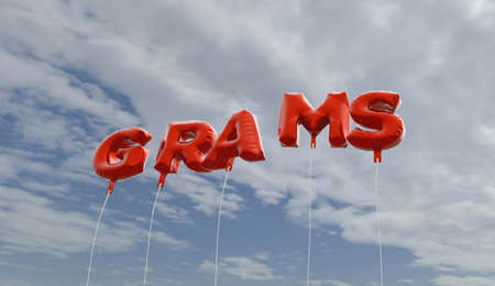 grams: GRAMS - red foil balloons on blue sky - 3D rendered royalty free stock picture. This image can be used for an online website banner ad or a print postcard.