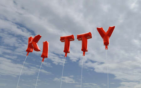 KITTY - red foil balloons on blue sky - 3D rendered royalty free stock picture. This image can be used for an online website banner ad or a print postcard.