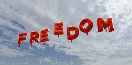 FREEDOM - red foil balloons on blue sky - 3D rendered royalty free stock picture. This image can be used for an online website banner ad or a print postcard.