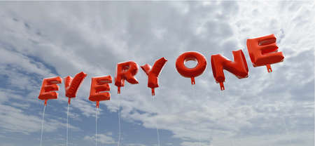 EVERYONE - red foil balloons on blue sky - 3D rendered royalty free stock picture. This image can be used for an online website banner ad or a print postcard. Stock Photo