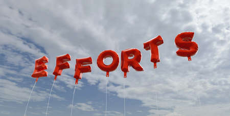 efforts: EFFORTS - red foil balloons on blue sky - 3D rendered royalty free stock picture. This image can be used for an online website banner ad or a print postcard.