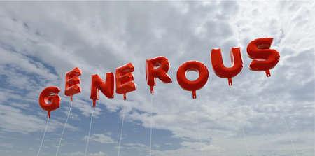 generoso: Abundante - globos de la hoja de color rojo en el cielo azul - 3D representa la imagen de stock libre de derechos. Esta imagen se puede utilizar para un anuncio bandera del Web site en línea o una postal de impresión.