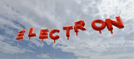 ELECTRON - red foil balloons on blue sky - 3D rendered royalty free stock picture. This image can be used for an online website banner ad or a print postcard. Stock Photo