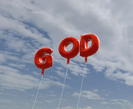 god 3d: GOD - red foil balloons on blue sky - 3D rendered royalty free stock picture. This image can be used for an online website banner ad or a print postcard.