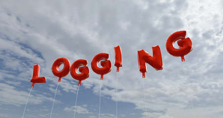 logging: LOGGING - red foil balloons on blue sky - 3D rendered royalty free stock picture. This image can be used for an online website banner ad or a print postcard.