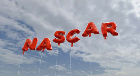 NASCAR - red foil balloons on blue sky - 3D rendered royalty free stock picture. This image can be used for an online website banner ad or a print postcard. Editorial