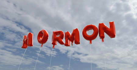 mormon: MORMON - red foil balloons on blue sky - 3D rendered royalty free stock picture. This image can be used for an online website banner ad or a print postcard.