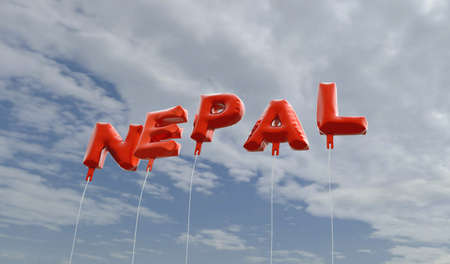 NEPAL - red foil balloons on blue sky - 3D rendered royalty free stock picture. This image can be used for an online website banner ad or a print postcard.