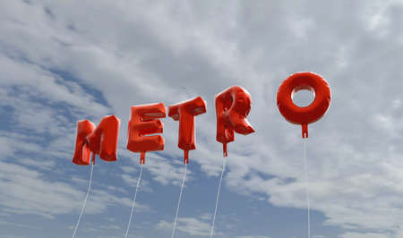 METRO - red foil balloons on blue sky - 3D rendered royalty free stock picture. This image can be used for an online website banner ad or a print postcard.