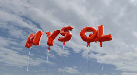 MYSQL - red foil balloons on blue sky - 3D rendered royalty free stock picture. This image can be used for an online website banner ad or a print postcard. Stock Photo