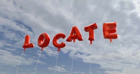 locate: LOCATE - red foil balloons on blue sky - 3D rendered royalty free stock picture. This image can be used for an online website banner ad or a print postcard. Stock Photo