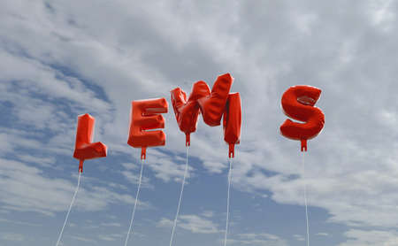 lewis: LEWIS - red foil balloons on blue sky - 3D rendered royalty free stock picture. This image can be used for an online website banner ad or a print postcard.