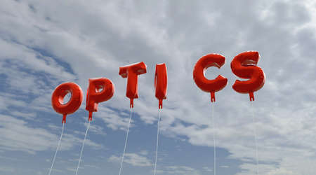 copy text: OPTICS - red foil balloons on blue sky - 3D rendered royalty free stock picture. This image can be used for an online website banner ad or a print postcard.