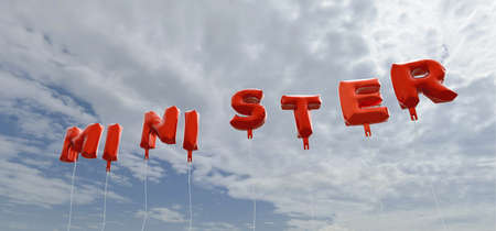 minister: MINISTER - red foil balloons on blue sky - 3D rendered royalty free stock picture. This image can be used for an online website banner ad or a print postcard.