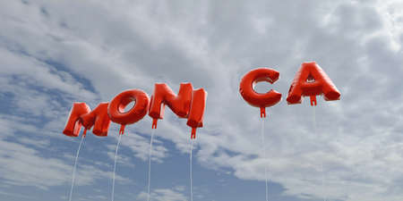 MONICA - red foil balloons on blue sky - 3D rendered royalty free stock picture. This image can be used for an online website banner ad or a print postcard.