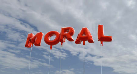 moral: MORAL - red foil balloons on blue sky - 3D rendered royalty free stock picture. This image can be used for an online website banner ad or a print postcard. Stock Photo