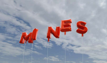 MINES - red foil balloons on blue sky - 3D rendered royalty free stock picture. This image can be used for an online website banner ad or a print postcard.